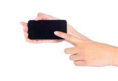 Woman hand touching virtual screen Stock Photography
