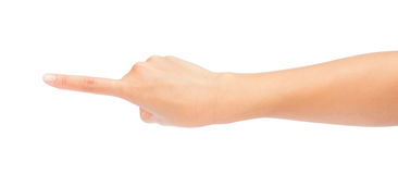 Woman hand touching virtual screen. Royalty Free Stock Photography