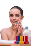 The woman in hand treatment manicure concept Stock Photos