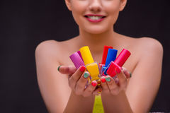 The woman in hand treatment manicure concept Royalty Free Stock Image