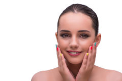 The woman in hand treatment manicure concept Stock Photo
