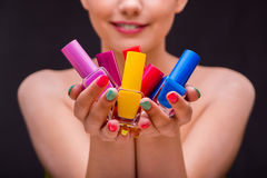 The woman in hand treatment manicure concept Royalty Free Stock Images