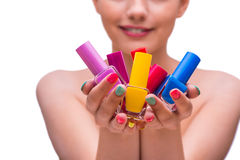 The woman in hand treatment manicure concept Royalty Free Stock Photos
