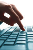 Woman hand typing on a laptop Royalty Free Stock Image