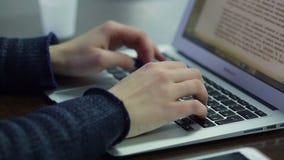 Woman hand typing on laptop keyboard. Closeup of business woman hand typing on laptop keyboard stock footage
