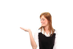 Woman with hand up Royalty Free Stock Image