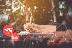 Woman hand using laptop to do business, financial or trading stock forex market . royalty free stock photo