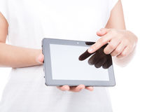 Woman hand using a touch screen device. Royalty Free Stock Photo