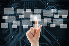 Woman hand using touch screen interface Royalty Free Stock Images
