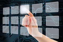 Woman hand using touch screen interface Stock Photos