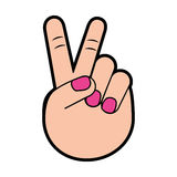 Woman hand with victory sign Royalty Free Stock Image