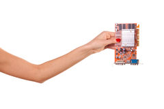 Woman hand and  video card. Royalty Free Stock Photos