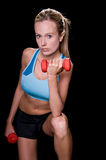 Woman With Hand Weights Royalty Free Stock Photography