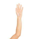 Woman hand on white backgrounds Stock Image