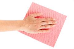 Woman hand on wipe Stock Photo