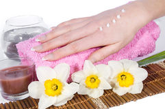 Woman Hand With Cream Stock Image