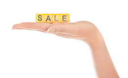 Woman hand with word sale Royalty Free Stock Images