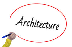 Woman hand writing architecture with marker. On white background Royalty Free Stock Image
