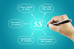 Woman hand writing element of 5S principle on blue background Stock Image