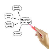 Woman hand writing HACCP concept on white background for use in manufacturing Royalty Free Stock Image