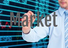 Woman hand writing MARKET in the screen with stock market background. Digital composite of Woman hand writing MARKET in the screen with stock market background Royalty Free Stock Photography