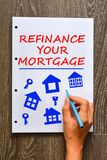 Woman hand writing refinance your mortgage on math book. With marker Royalty Free Stock Image