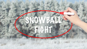 Woman Hand Writing Snowball Fight with marker over winter forest. Stock Image