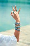 Woman hand in yoga symbolic gesture mudra Stock Photography