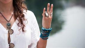 Woman hand in yoga symbolic gesture mudra Stock Image