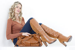 Woman with a handbag Royalty Free Stock Photography