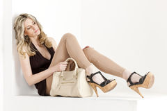 Woman with a handbag Stock Photography