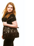 Woman with handbag Royalty Free Stock Images
