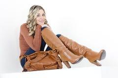 Woman with a handbag Stock Photos