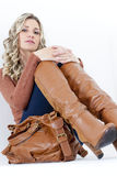 Woman with a handbag Royalty Free Stock Image