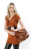 Woman with a handbag Stock Photography
