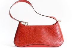 Woman handbag. Red with details Stock Image