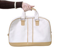 Woman handbag. Woman hand holding purse - clipping path Royalty Free Stock Images