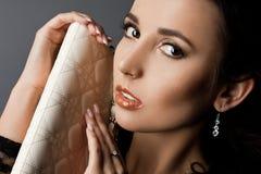 Woman with handbag. Beautiful fashionable woman with handbag Stock Images