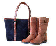 Woman handbag and boots Stock Image