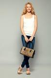 Woman with handbag Stock Images