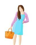 Woman with handbag illustration. Vector illustration of a woman with handbag in a white background Royalty Free Stock Image