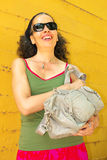 Mature Woman with Handbag Outdoor Stock Image