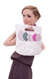 Woman with handbag over her shoulder stock images