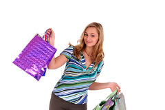 Woman with handbags Stock Images