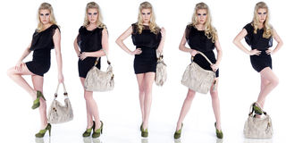 Woman with handbags collage Stock Photo