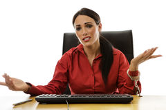 Woman handcuff to desk Royalty Free Stock Photo