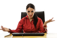 Woman handcuff to desk Stock Photography