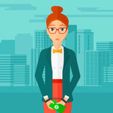 Woman handcuffed for crime. A business woman in handcuffs with money in hands on the background of modern city vector flat design illustration. Square layout Stock Images