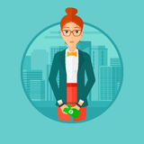 Woman handcuffed for crime. A business woman in handcuffs with money in hands on the background of modern city. Vector flat design illustration in the circle Stock Photography