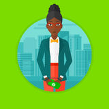 Woman handcuffed for crime vector illustration. An african-american sorrowful business woman standing in handcuffs with money in hands on a city background Stock Images